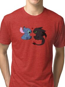 Stitch and Toothless Love Tri-blend T-Shirt