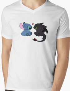 Stitch and Toothless Love Mens V-Neck T-Shirt