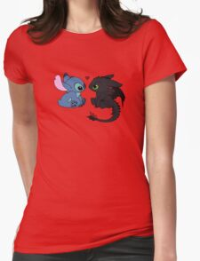 Stitch and Toothless Love Womens Fitted T-Shirt