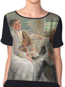 Vintage famous art - James Tissot - Smith Gill And Two Of Her Children Chiffon Top