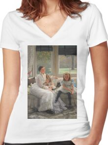 Vintage famous art - James Tissot - Smith Gill And Two Of Her Children Women's Fitted V-Neck T-Shirt