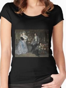 Vintage famous art - James Tissot - Portrait Of The Marquis And Marchioness Of Miramon And Their Children1865 Women's Fitted Scoop T-Shirt