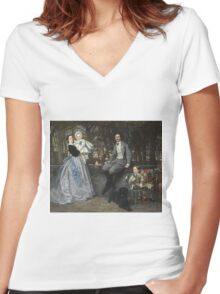 Vintage famous art - James Tissot - Portrait Of The Marquis And Marchioness Of Miramon And Their Children1865 Women's Fitted V-Neck T-Shirt