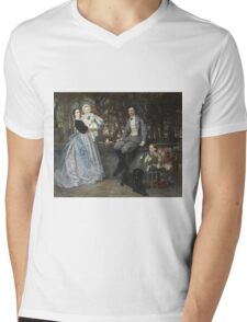 Vintage famous art - James Tissot - Portrait Of The Marquis And Marchioness Of Miramon And Their Children1865 Mens V-Neck T-Shirt
