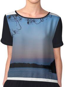 Beautiful Blue Lake Sunset Chiffon Top