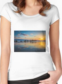 Sunset over the mediterranean sea, Haifa, Israel  Women's Fitted Scoop T-Shirt