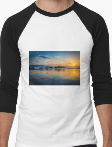 Sunset over the mediterranean sea, Haifa, Israel  Men's Baseball ¾ T-Shirt