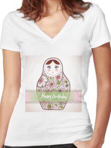 Happy birthday card matrioshka  Women's Fitted V-Neck T-Shirt