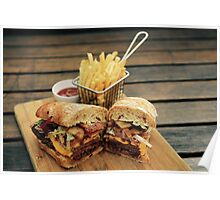 Steak Sandwich with Cajun Fries Poster