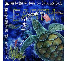 Clean Oceans Sea Turtle Art Photographic Print