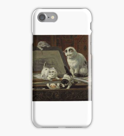 Henriette Ronner-Knip (Dutch, )  The Kitten's Art Lesson,  iPhone Case/Skin