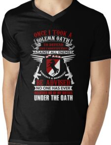 Military - 11th A.c.r   Solemn Oath Mens V-Neck T-Shirt