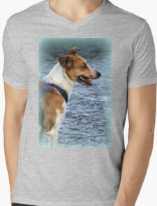 dog at lake Mens V-Neck T-Shirt