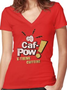 Caf-Pow - Spatter Distressed Variant Women's Fitted V-Neck T-Shirt