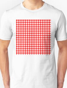 Gingham Red and White Pattern T-Shirt