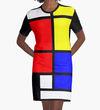 Mondrian style design in basic colors Graphic T-Shirt Dress