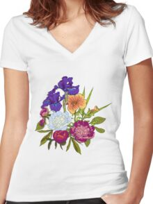 Floral Graphic Design Women's Fitted V-Neck T-Shirt