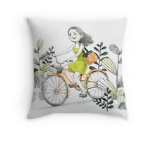 Girl riding a bike Throw Pillow