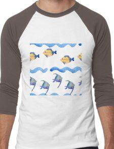watercolor blue wave pattern, Men's Baseball ¾ T-Shirt