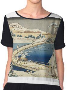 Vintage famous art - Hokusai Katsushika - Pontoon Bridge At Sano, Kozuke Province, Ancient View Chiffon Top