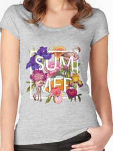 Floral and birds flamingos summer  Women's Fitted Scoop T-Shirt
