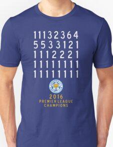 Leicester City FC Premier League Champions Table Positions 2015-2016 Unisex T-Shirt