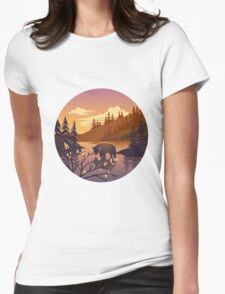 Bear - river forest landscape in sunset Womens Fitted T-Shirt