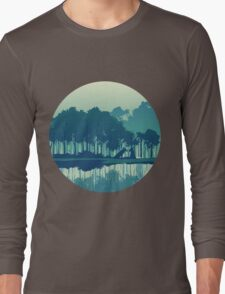 Wolves couple in forest and river landscape - cool blues Long Sleeve T-Shirt