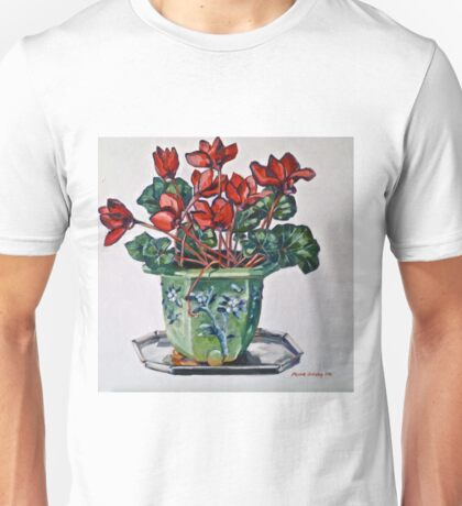 Cyclamen and old jardiniere 2012Ⓒ Oil on canvas Unisex T-Shirt
