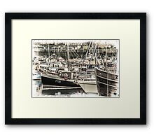 Boats in a Harbour - Cornwall Framed Print