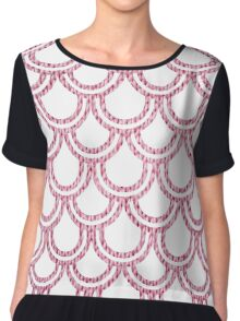 Knitted Fish Scales Pink Chiffon Top