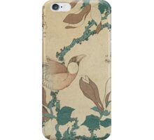 Vintage famous art - Hokusai Katsushika - A Paddy Bird Perched On A Flowering Magnolia Branch iPhone Case/Skin