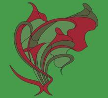 Butterfly swirl, modern art nouveau green red Baby Tee