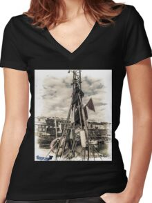 Flags on a Boat - Cornwall Women's Fitted V-Neck T-Shirt