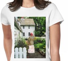 Woman With Striped Jacket and Flowered Skirt Womens Fitted T-Shirt