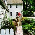 Woman With Striped Jacket and Flowered Skirt by Susan Savad