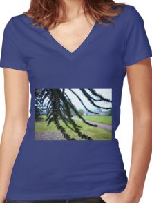 Underneath the Monkey Puzzle Women's Fitted V-Neck T-Shirt