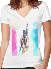 Painter's Hand Women's Fitted V-Neck T-Shirt