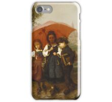 Vintage famous art - Henry Mosler - Children Under A Red Umbrella iPhone Case/Skin