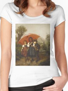 Vintage famous art - Henry Mosler - Children Under A Red Umbrella Women's Fitted Scoop T-Shirt