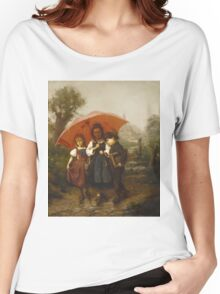 Vintage famous art - Henry Mosler - Children Under A Red Umbrella Women's Relaxed Fit T-Shirt