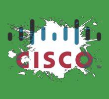 Cisco Logo White Black Glow Kids Tee