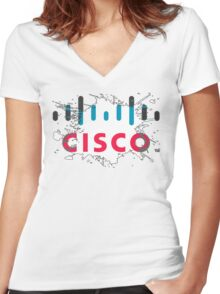 Cisco Logo White Black Glow Women's Fitted V-Neck T-Shirt