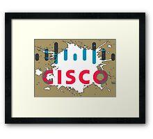 Cisco Logo White Black Glow Framed Print
