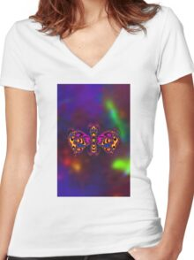 Butterfly 0003 Women's Fitted V-Neck T-Shirt