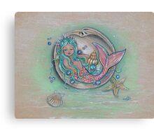 Sleepy Little Mermaid baby by Renee Lavoie Canvas Print
