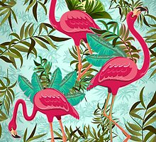 Pink Flamingos Exotic Birds by BluedarkArt
