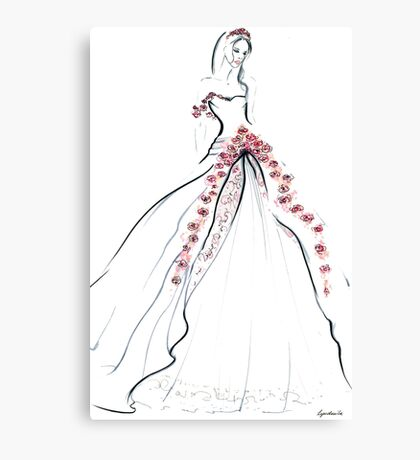 Bride & Roses Canvas Print