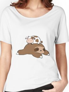 Sloth and Tiny Cow Women's Relaxed Fit T-Shirt