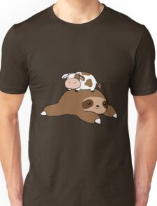 Sloth and Tiny Cow Unisex T-Shirt